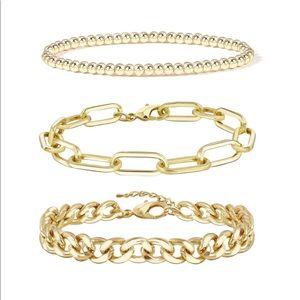 14K Gold Bracelet Set Adjustable